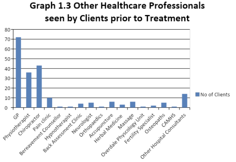 other healthcare professionals seen by clients prior to treatment